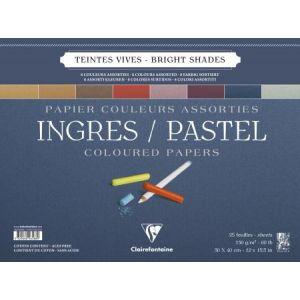 Clairefontaine 96588C - Bloc spiralé de 25 feuilles de papier vergé Ingres Pastel, 130 g/m², 30x40, coloris assortis vifs