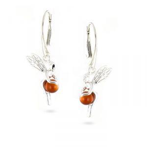 Rêve de diamants BOBA01007N - Boucles d'oreilles en argent et ambre