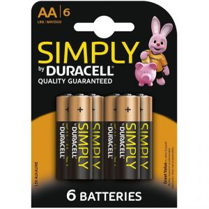Duracell 6 Piles Alcaline Simply AA
