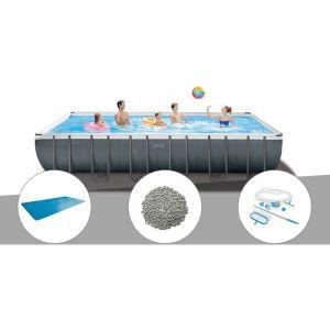 Intex Kit piscine tubulaire Ultra XTR Frame rectangulaire 7,32 x 3,66 x 1,32 m + Bâche à bulles + 20 kg de zéolite + Kit d'entretien