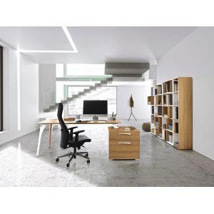 GAUTIER OFFICE Bureau pieds arbre métal - XENON - L170 cm - Finition merisier/blanc