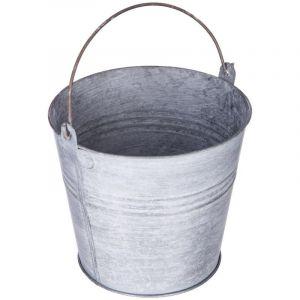 """Pot de Fleur en Métal """"Seau"""" 12cm Gris Prix"""