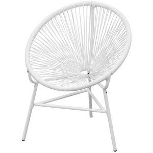 VidaXL Chaise de jardin en rotin synthétique blanc