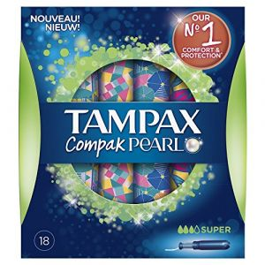 Tampax Compak Pearl Super Tampons avec Applicateur x 18