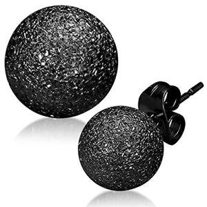Zense ZE0039 - Boucles d'oreilles boule acier noir brossé