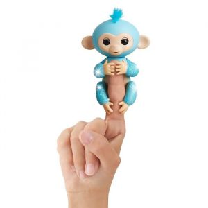 Wow wee Fingerlings Bébé singe ouistiti pailleté bleu