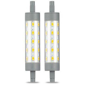 Amazon Basics Spot projecteur halogène LED R7S à double extrêmités, 6.5W (équivalent ampoule incandescente 60W), blanc chaud, 118 mm - Lot de 2
