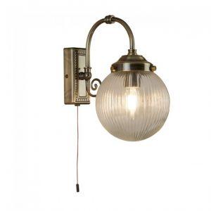Searchlight Applique de salle de bain Ip44 à 1 flamme Belvue, abat-jour sphérique transparent, laiton antique