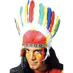 Coiffe d'indien avec plumes multicolores