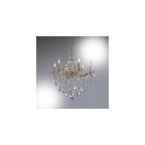 Ideal lux Suspension Florian 6 ampoules en métal, verre et cristal