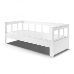 PINO Lit enfant évolutif + sommier contemporain en bois pin m if blanc l 90 x L 180 200 cm