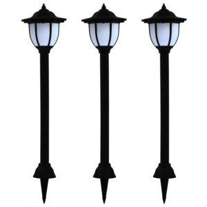 VidaXL Lampe solaire à LED d'extérieur 3 pcs Noir
