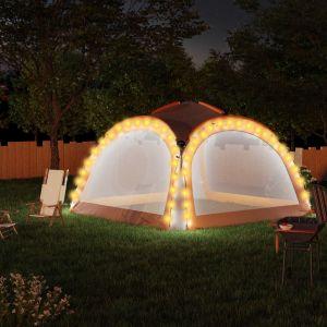 VidaXL Tente de réception à LED et 4 parois 3,6x3,6x2,3 m Gris/orange