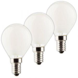 Müller-Licht 400294 _ Set A + +, set de 3 W LED Forme de goutte remplace 40 W Rétro, verre, 4 W, E14, argent, 4,5 x 4,5 x 8 cm