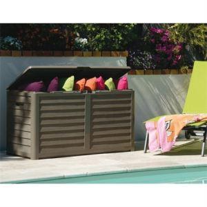 Eda Plastiques Malle de jardin Baya décor bois en PVC 420 L