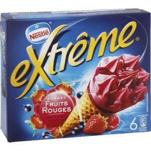 Nestlé Extrême - Cônes glacés, sorbet framboise, cassis et fraise