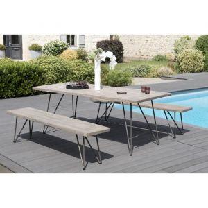 LesTendances Table rectangulaire avec 2 bancs teck massif et acier Elio