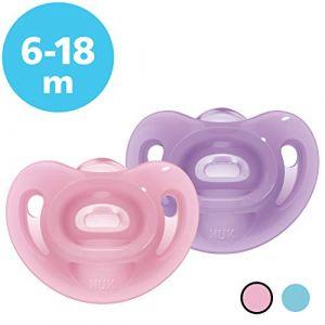 Nuk Sucette bébé Sensitive, 6-18 mois, 100 % silicone, rose et violette, lot de 2