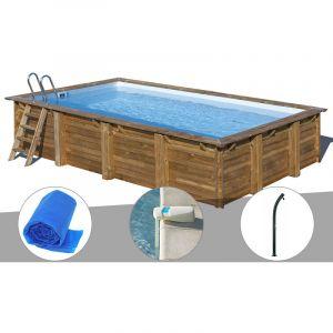 Sunbay Kit piscine bois Evora 6,00 x 4,00 x 1,33 m + Bâche à bulles + Alarme + Douche