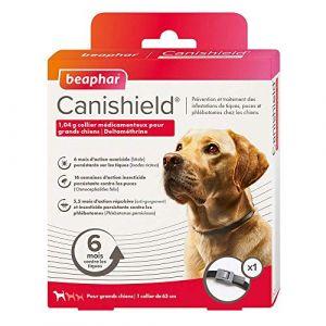 Beaphar Canishield, 1,04 g collier médicamenteux pour grands chiens - deltaméthrine - 1 colliercontre tiques, puces et phlébotomes