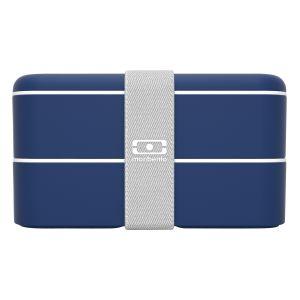 monbento MB Original Navy bento box bleu Made in France - Lunch box hermétique 2 étages - Boîte repas idéale pour le travail/école - sans BPA - durable et sûre