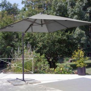 Proloisirs Parasol déporté à manivelle carré 2,5 m gris