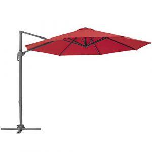 TecTake 800684 Parasol Déporté excentré de Plage de Balcon de Jardin à Pied, en Aluminium, inclinable et réglable en Hauteur, Protection UV 50+, Ø 300 cm - Plusieurs Coloris -