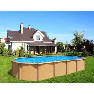 Abak Kit piscine ovale hors sol acier 5,1 m x 3,9m aspect Bois OSMOSE C9570 7,30 x 3,65 m : Aspect Bois