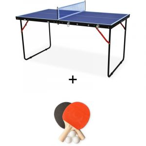 Alice's Garden Mini Table de ping Pong Pliable Indoor Sapporo Bleue, avec 2 Raquettes et 3 balles, Tennis de Table