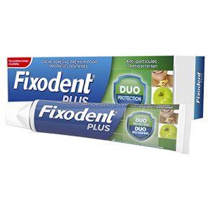Fixodent Plus Duo Protection Crème Adhésive pour Prothèses Dentaires 40g, Goût Menthe Fraîche, pour Prothèses Totales et Partielles