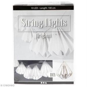 Creotime Guirlande Lumineuse à LED 100 cm - Lampions origami coniques