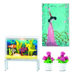 Lundby Ensemble aquarium et pot de fleurs Smaland pour maison de poupée