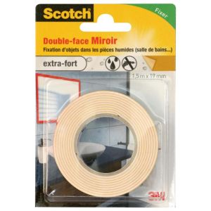 3M SCOTCH Double-face - 1,5 m x 19 mm - Miroir - Ruban adhésif double-face - 1,5 m x 19 mm - Miroir - Extra fort
