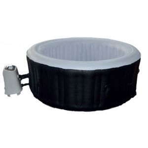 Water'clip Cocooning Water - Spa gonflable rond Ø208cm 5-6 places - 130 jets - Filtrage et chauffage - 1000L - Noir et Blanc - Palma - Noir