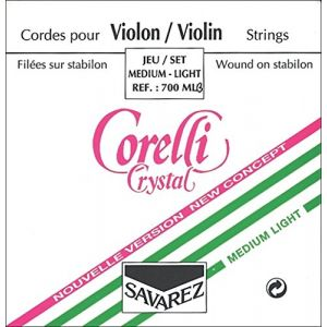 Corelli Cordes Violon Crystal Mi Acier avec boule. Medium; 3/4
