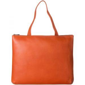 Dudu Sac porté épaule pour femme en Cuir souple Design Essentiel rectangulaire avec fermeture éclair Orange