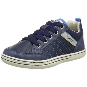 Geox Jr Garcia A, Baskets Basses Garçon, Bleu (Navy/Lt Blue), 34 EU