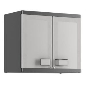 KIS Armoire de rangement murale Logico - 65 x 39 x 56,5 cm - Noir et gris