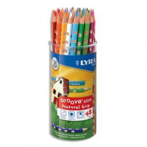 Lyra Pot de 48 crayons de couleurs ergonomiques triangulaires Groove Slim, couleurs assorties