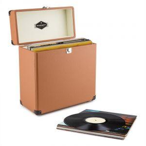 Auna TTS6 Coffret à vinyles style rétro en cuir rangement 30 disques marron