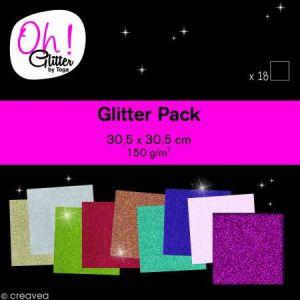 Toga Oh Glitter ! - Bloc de 18 feuilles de papier pailleté - 9 couleurs - 30,5 x 30,5 cm