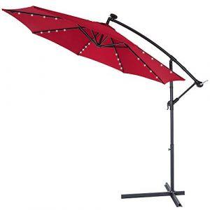 Deuba Kingsleeve | Parasol déporté en Aluminium • Ø3,3m • Rouge • Mali • éclairage 32 LED • Lampe Solaire • Protection, manivelle, Jardin, terrasse, Balcon, Soleil