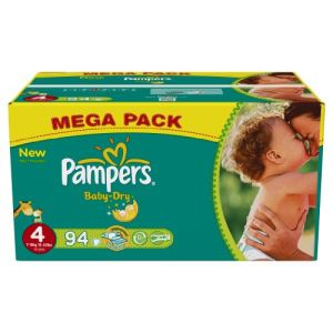Pampers Baby Dry taille 4 Maxi (7-18 kg) - Mega pack x 94 couches