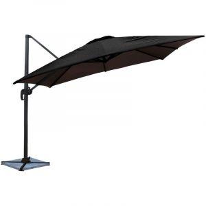 Happy Garden Parasol déporté MOLOKAI carré 3x3m noir - mât gris
