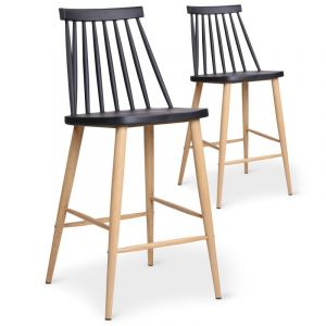 Declikdeco Lot de 2 chaises de bar scandinaves noires POLTA