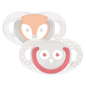 Bébé Confort 2 sucettes silicone Natural Physio Hibou/Renard 6/18 mois