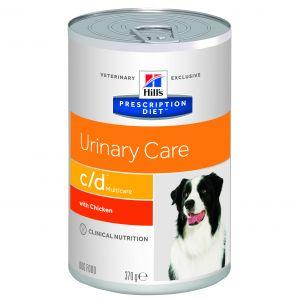 Hill's Prescription Diet c/d Canine - 12 boîtes de 370 g, Saveur canard