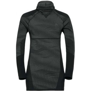 Odlo Suw Top with Facemask L/S Performance Blackcomb T-Shirt pour Homme S Black Concrete Grey - Silver