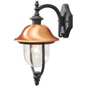 MW-Light 805020201 Applique Extérieure Design Rustique en Métal Noir Abat-jour en Cuivre et Acrylique pour Jardin Terrasse IP44 1x95W E27