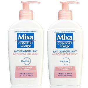 Mixa Lait démaquillant antidessèchement, peaux sensibles et sèches, - La pompe de 20cl